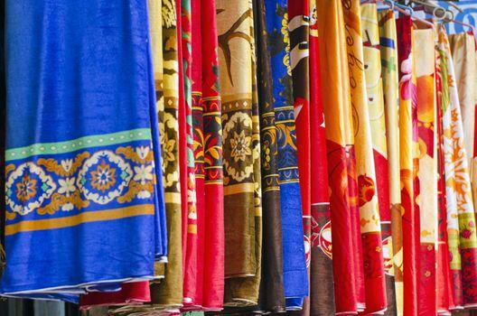 Colorful Indian cloth at Indian market bazaar