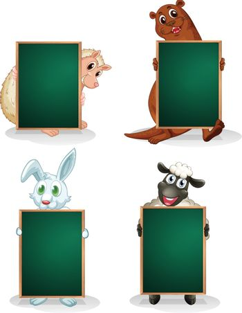 Illustration of the blackboards in front of the animals on a white background