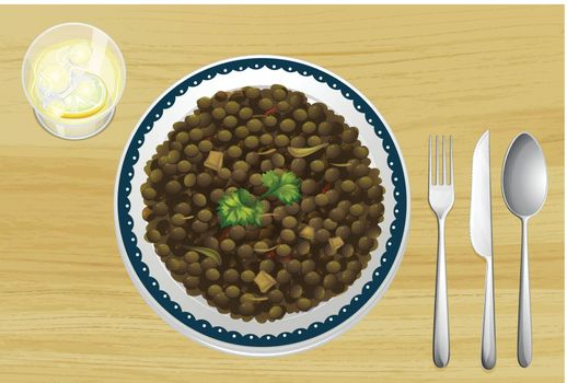 Illustration of Ethiopian food on a wooden table