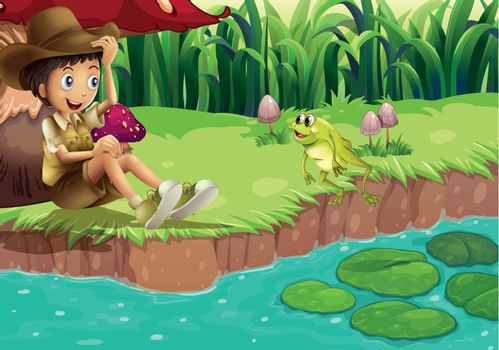 A boy and a frog at the riverbank