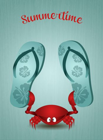 Funny crab with flip-flops for summertime
