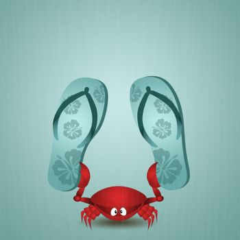 Funny crab with flip-flops