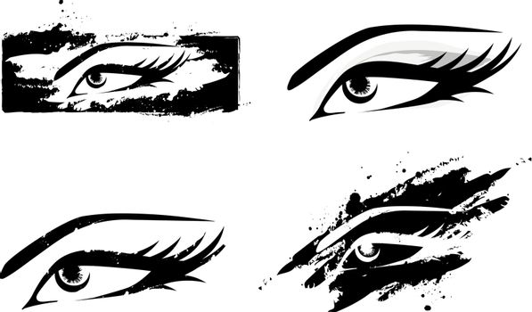 Woman Abstract MakeUp Eye Collection in Black and White