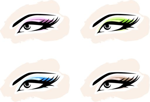 Woman MakeUp Eye Collection Over White