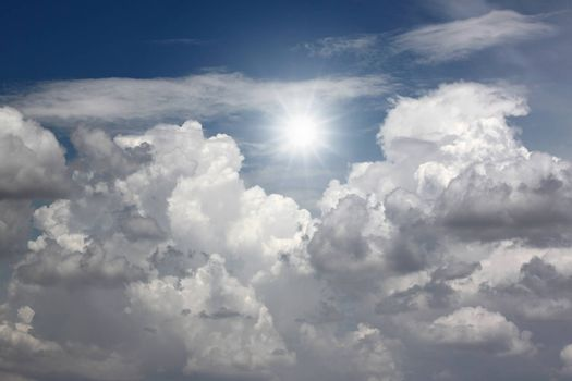 white clouds and blue sky for nature background.