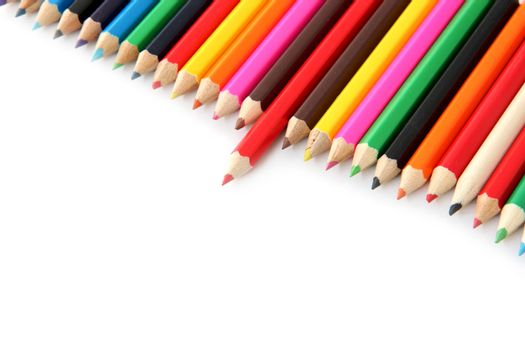 Mix colored crayons on a white background.