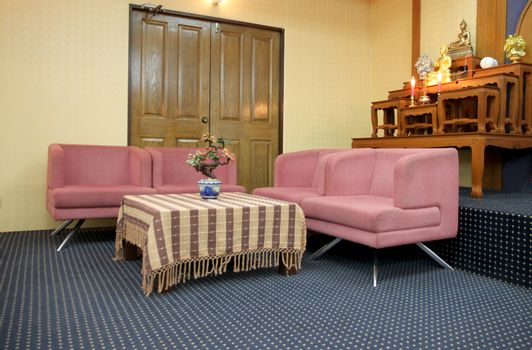 Sofa set in the meeting room for interior background.