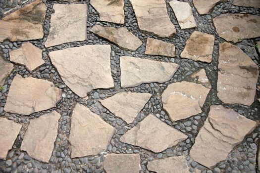 surface of corridor stone in the garden for decoration.