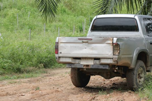 Rear of old pickup through the use heavily.