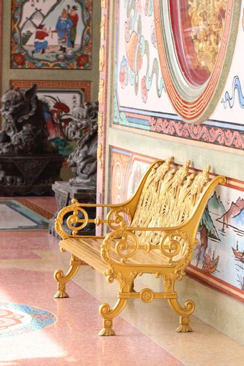 gold chair in Chinese temple,Thailand.