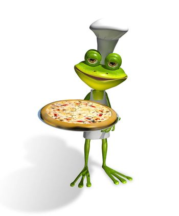 abstract illustration frog chef with a pizza