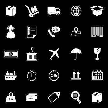 Logistics icons on black background, stock vector