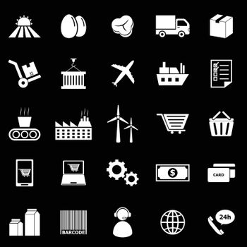 Supply chain icons on black background, stock vector