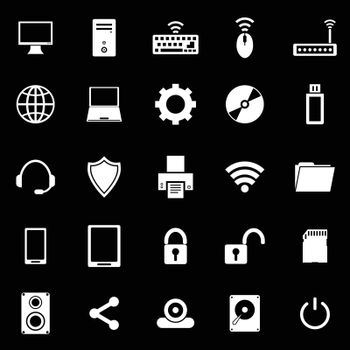 Computer icons on black background, stock vector
