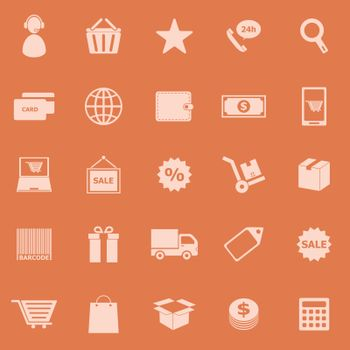 E-commerce color icons on orange background, stock vector