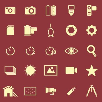 Camera color icons on red background, stock vector