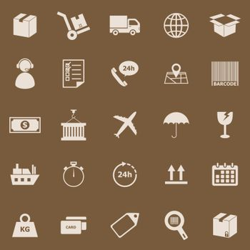 Logistics color icons on brown background, stock vector