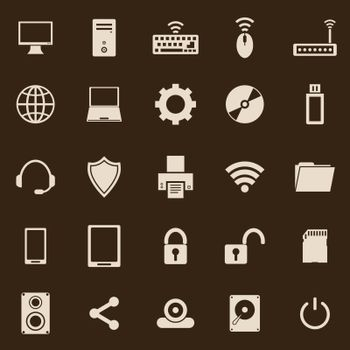 Computer color icons on brown background, stock vector