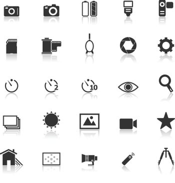 Camera icons with reflect on white background, stock vector
