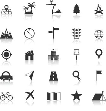 Location icons with reflect on white background, stock vector