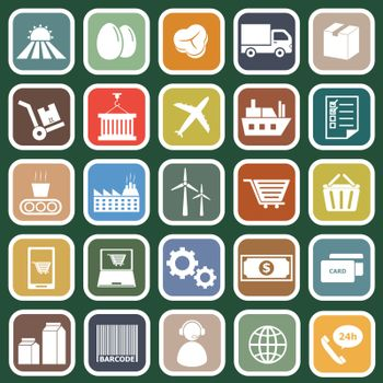 Supply chain flat icons on green background, stock vector