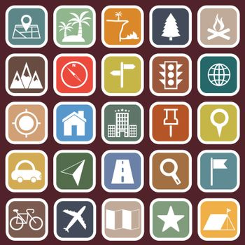 Location flat icons on red background, stock vector