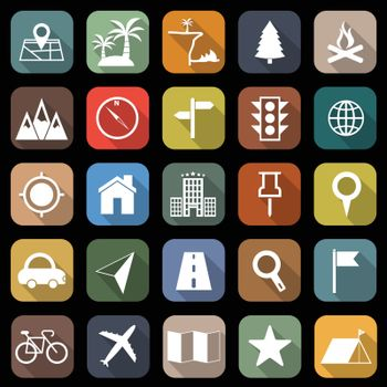 Location flat icons with long shadow, stock vector