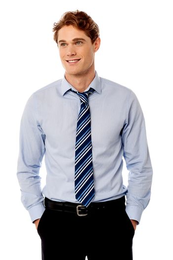 Young stylish smiling sales executive