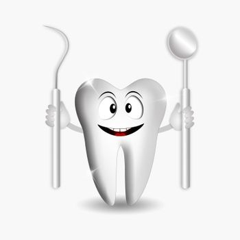 illustration of Funny tooth with dentist tools