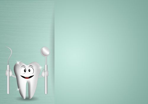 Funny tooth with dentist tools