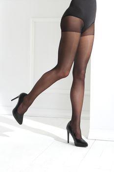 Sexy female legs in black tights
