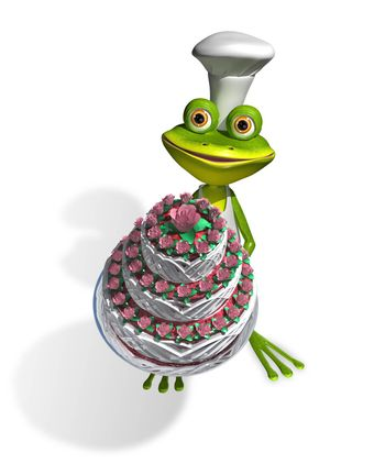 abstract illustration frog chef with a cake