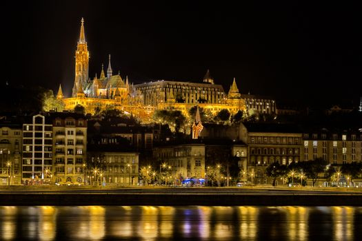A  night view of the palaces on the Danube river in Budapest in Hungary: