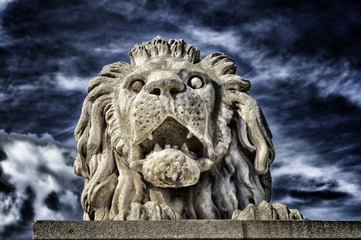 A  view of the Lion and the Chain Bridge on the Danube river in Budapest in Hungary.
