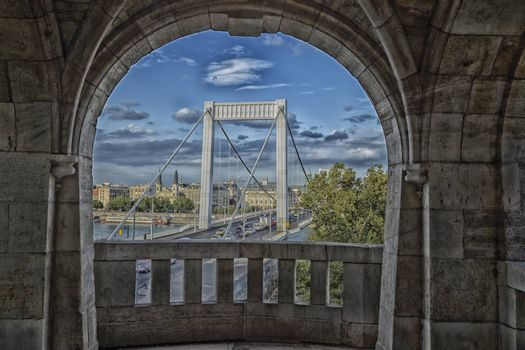 A  view of the Elisabeth Bridge on the Danube river in Budapest in Hungary.
