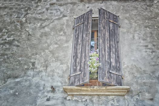 Old windows with wood closing and flowers