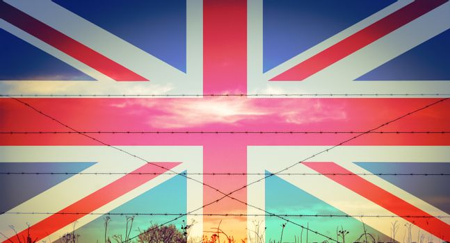 Union jack on the battle fields of WW1 barbed wire