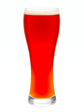 Glass of red beer isolated