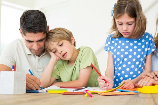 Father and children coloring
