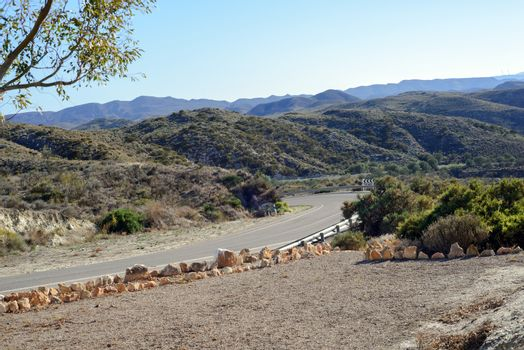 Winding paved road in the Spain,Andalusia