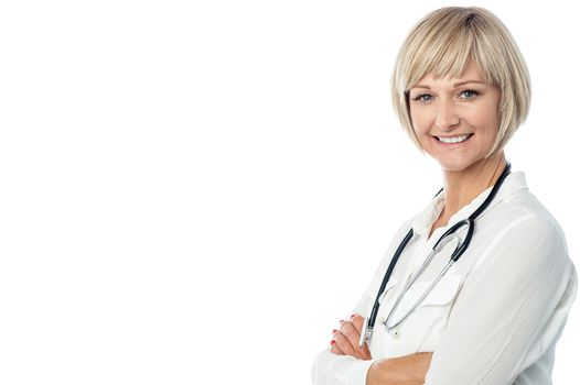 Confident female doctor with stethoscope