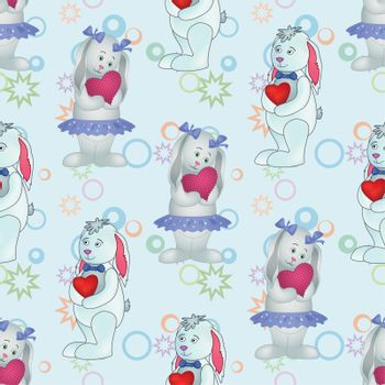 Seamless pattern, cartoon Easter Bunnies boys and girls with Valentine hearts on abstract background. Vector