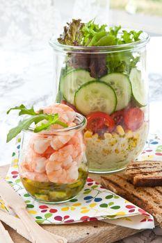 Layer salad in vintage jars