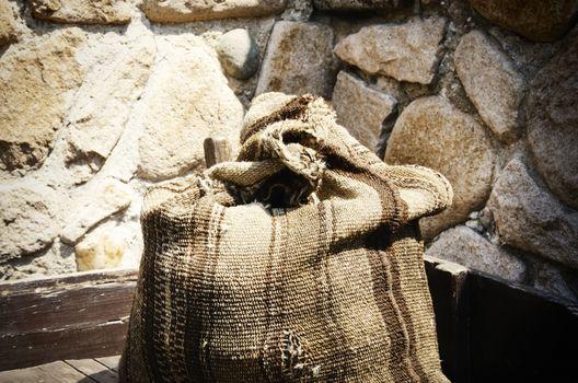 Old Linen Sack Over Vintage Stone Background