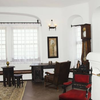 Vintage White Walls Room Interior With Details