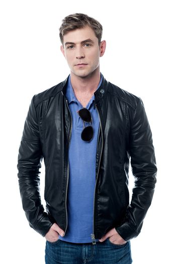 Young man wearing leather jacket
