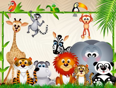 illustration of zoo animals