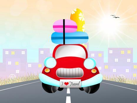 illustration of car traveling