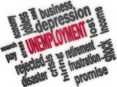 Unemployment concept. Jobless word cloud. 3d