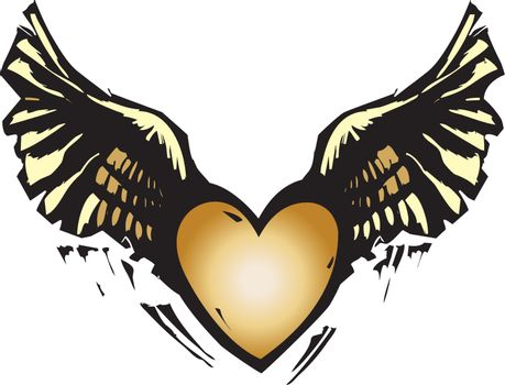 Woodcut style image of a heart with wings.